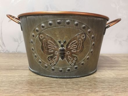 Vintage Butterfly Tin Small Planter 16 cm GOLD